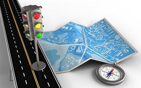 3d illustratie van stadskaart met verkeerslicht en kompas
