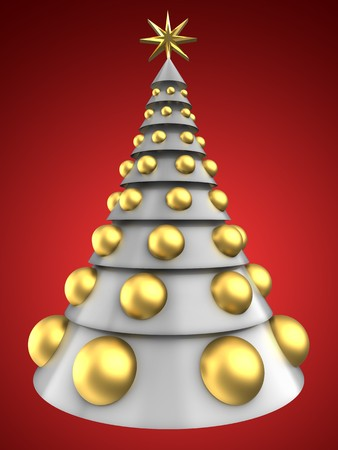 bola ocho: 3d illustration of white Christmas tree over red background with big golden balls Foto de archivo