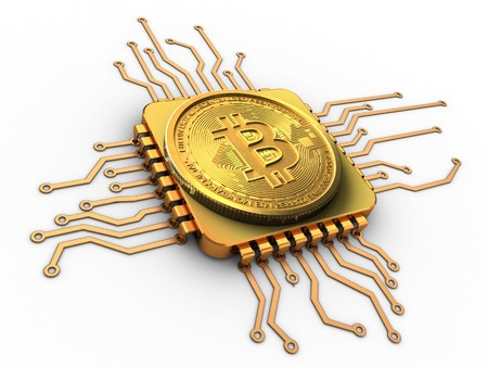 3d illustration of bitcoin over white background with cpu gold Stock Photo