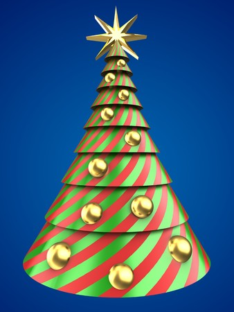 3d illustration of Christmas tree shape over blue background with golden balls