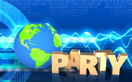 3d illustration of earth globe over cyber background with party sign