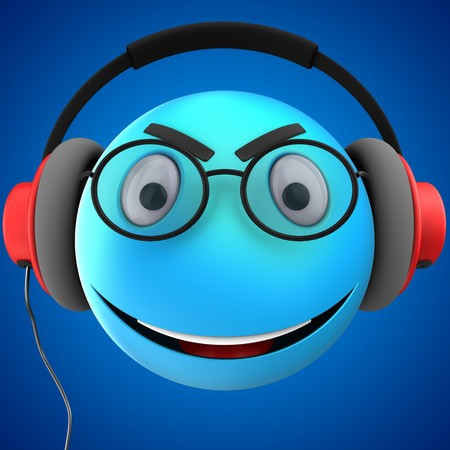 3d illustration of blue emoticon smile with red headphones over blue background Stock Photo