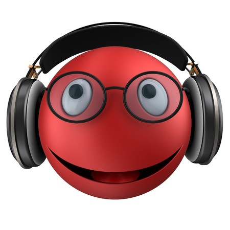 3d illustration of red emoticon smile with black headphones over white background Stock Photo