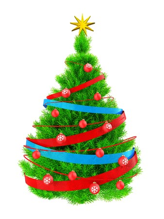 3d illustration of neon green Christmas tree with red neon over white background