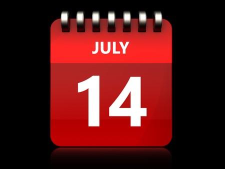 3d illustration of july 14 calendar over black background Stock Photo
