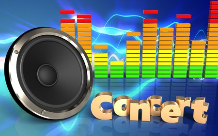 3d illustration of  over sound waves blue background with concert sign Stock Photo