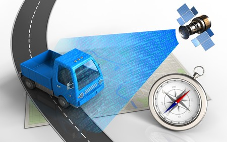 3d illustration of bright map with truck and compass