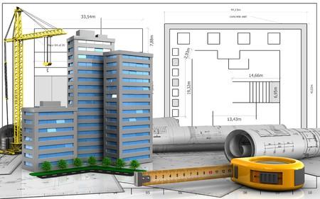 3d illustration of living quarter with crane over blueprint background