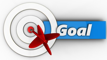 3d illustration of white taget with goal sign over white background