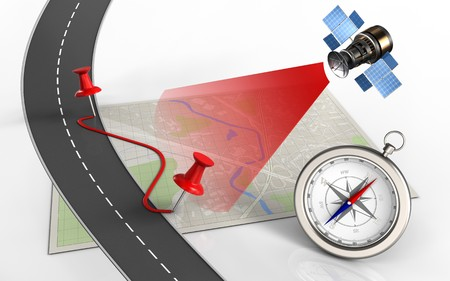 3d illustration of bright map with pins and route and compass