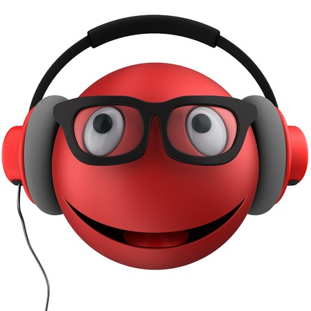 3d illustration of red emoticon smile with red headphones over white background