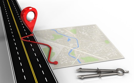 routing: 3d illustration of bright map with route and circle tool