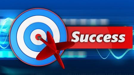 3d illustration of blue target with success over blue waves background