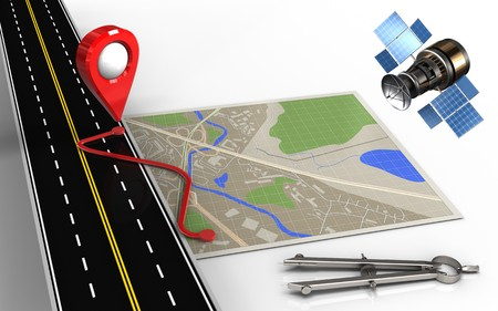 routing: 3d illustration of map with route and circle tool