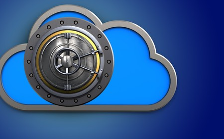 3d illustration of cloud with wheel door over blue background Stock Photo