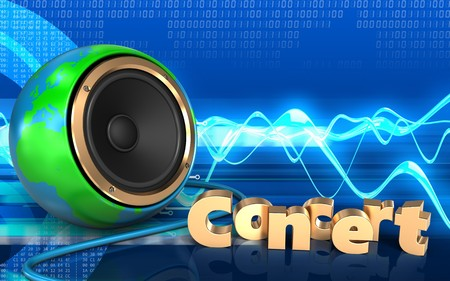 3d illustration of earth globe speaker over cyber background with concert sign