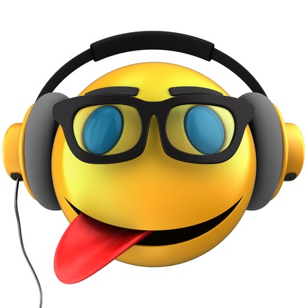 3d illustration of yellow emoticon smile with yellow headphones over white background