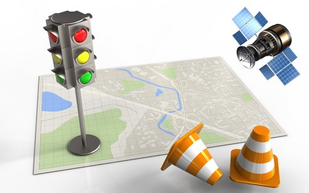 3d illustration of bright map with traffic light and gps satellite Stock Photo