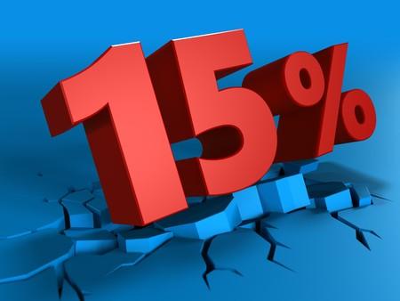 percent sign: 3d illustration of 15 percent discount over blue background