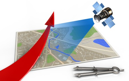 3d illustration of map with red arrow and satellite