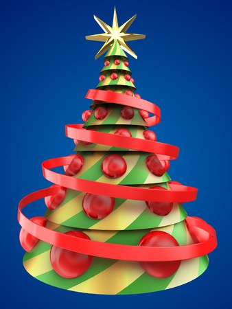 3d illustration of abstract Christmas tree over blue background with big red balls