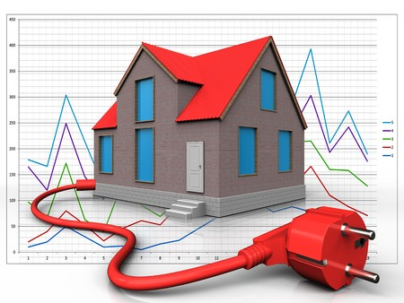 3d illustration of house with power cable over diagram background