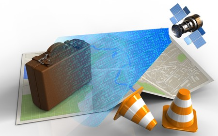3d illustration of map paper with luggage and satellite digital signal