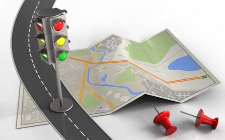 3d illustratie van stadskaart met verkeerslicht en rode spelden