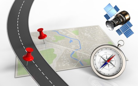 3d illustration of bright map with red pins and compass
