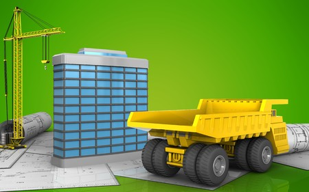 3d illustration of generic building with crane over green background
