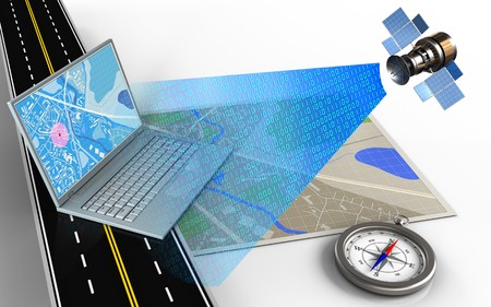 3d illustration of map with computer and compass Stock Photo