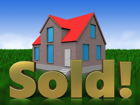 3d illustration of house with sold sign over meadow background