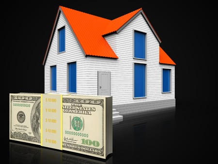 3d illustration of house with money over black background