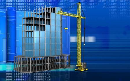 3d illustration of modern building frame with drawing roll over digital background