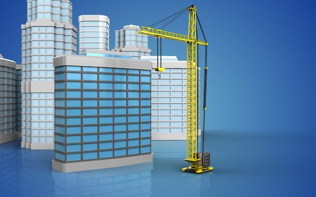 3d illustration of generic building with urban scene over blue background Stock Photo