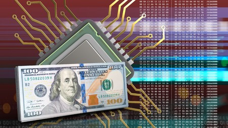 3d illustration of cpu over red cyber background with cash