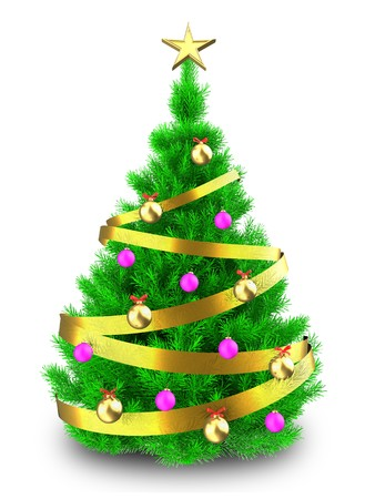 3d illustration of vibrant Christmas tree with golden ribbon over white background