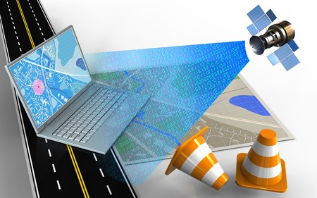 3d illustration of map with computer and repair cones