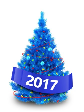 3d illustration of blue christmas tree with red decorations over white background stock illustration 88348067 - Blue And Red Decorated Christmas Tree