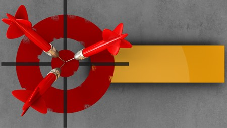 3d illustration of painted target with three darts over concrete background Stock Photo