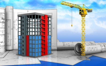 3d illustration of building construction with drawings over sky background