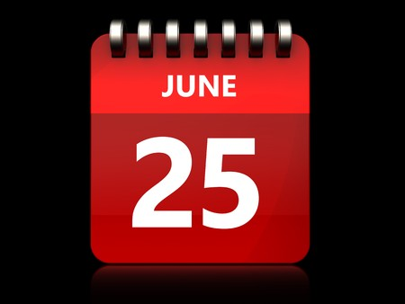 3d illustration of june 25 calendar over black background