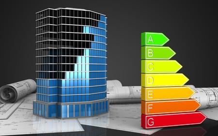 3d illustration of office building construction over black background