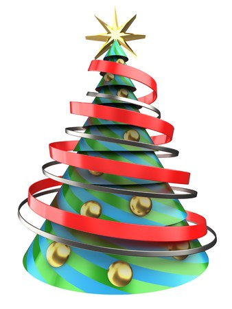 bola ocho: 3d illustration of Christmas tree over white background with golden balls