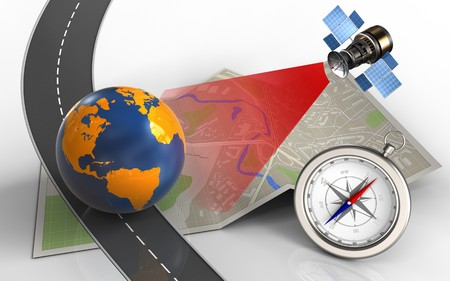 3d illustration of map paper with earth globe and compass Stock Photo