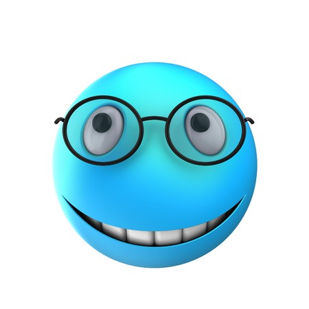 3d illustration of blue emoticon smile over white background with teeths Stock Photo