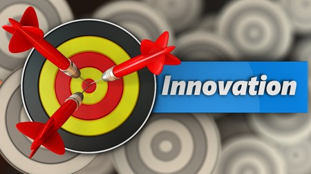 3d illustration of round target with innovation sign over multiple targets background