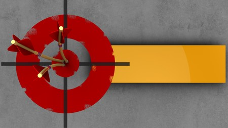 3d illustration of painted target with three arrows over concrete background Stock Photo