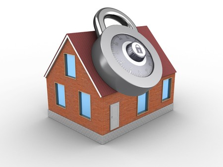 3d illustration of bricks house over white background with code lock Stock Photo