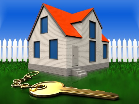 3d illustration of cottage house with golden key over grass and fence background Stock Photo